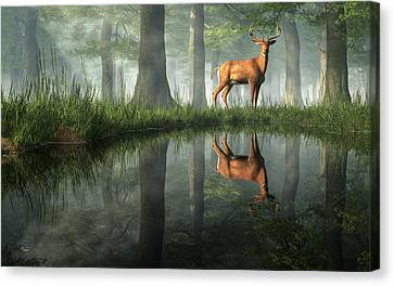White Tailed Deer Reflected Canvas Print by Daniel Eskridge