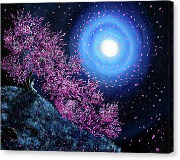 Wiccan Canvas Print - White Tara In Cascading Sakura by Laura Iverson