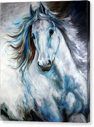 White Thunder Arabian Abstract Canvas Print by Marcia Baldwin