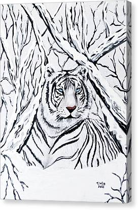 Canvas Print featuring the painting White Tiger Blending In by Teresa Wing