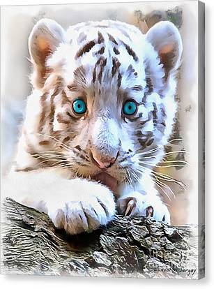 White Tiger Cub Canvas Print by Sergey Lukashin