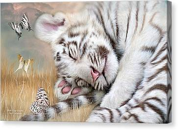 Canvas Print featuring the mixed media White Tiger Dreams by Carol Cavalaris