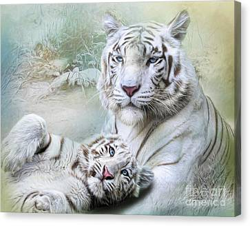 Canvas Print featuring the digital art  White Tiger by Trudi Simmonds