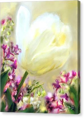 White Tulip Glow Canvas Print by Patty Muchka