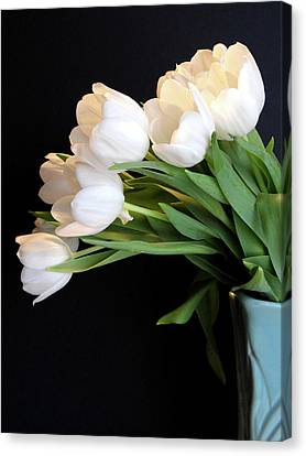White Tulips In Blue Vase Canvas Print