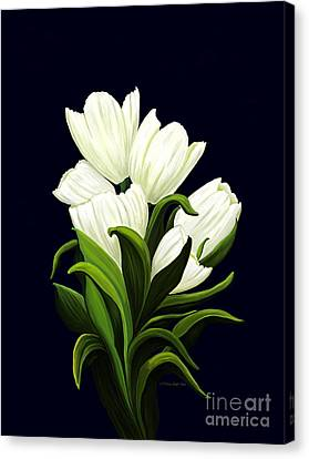 Canvas Print featuring the painting White Tulips by Patricia Griffin Brett