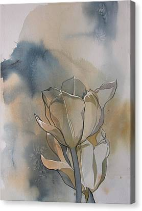 White Tulips With Blues Canvas Print by Alfred Ng
