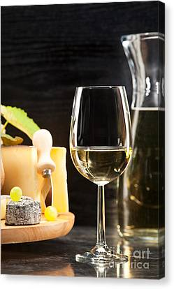 White Wine With Cheese Platter Canvas Print by Wolfgang Steiner