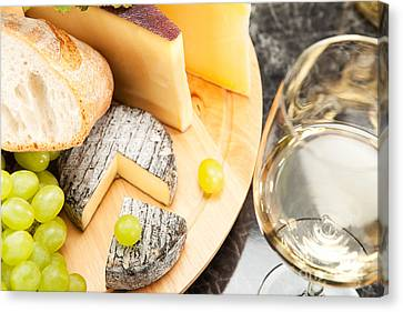 White Wine With Cheese Canvas Print