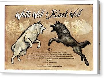 White Wolf Black Wolf Canvas Print by Christopher Panza