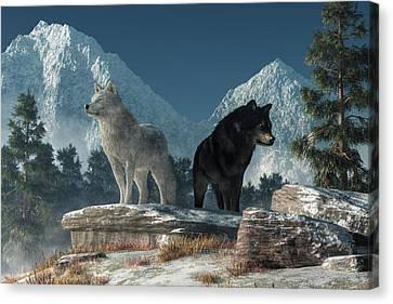 White Wolf, Black Wolf Canvas Print