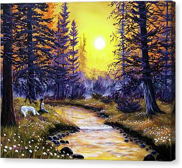 White Wolf Meditation Canvas Print by Laura Iverson