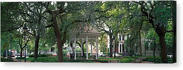 Park Benches Canvas Print - Whitefield Square Historic District by Panoramic Images
