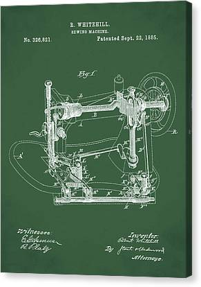 Whitehill Sewing Machine Patent 1885 Green Canvas Print by Bill Cannon