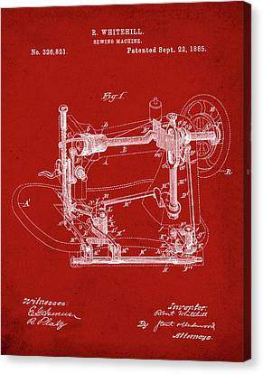 Sepia Chalk Canvas Print - Whitehill Sewing Machine Patent 1885 Red by Bill Cannon