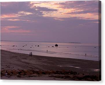 Whitehorse Beach - Sunset Canvas Print by Nancy Ferrier
