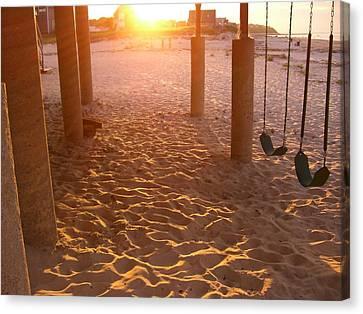Whitehorse Beach - Swings Canvas Print by Nancy Ferrier