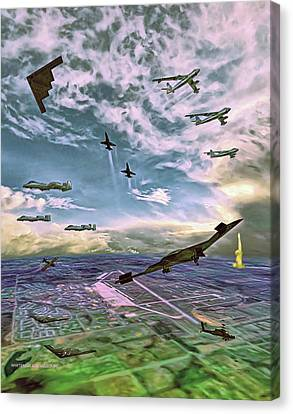 Canvas Print featuring the painting Whiteman Air Force Base by Dave Luebbert