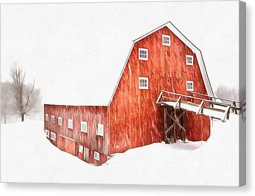 Canvas Print featuring the painting Whiteout On The Farm Blizzard Stella by Edward Fielding
