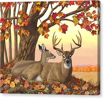 Whitetail Deer - Hilltop Retreat Horizontal Canvas Print by Crista Forest