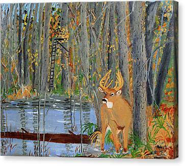 Whitetail Deer In Swamp Canvas Print by Swabby Soileau