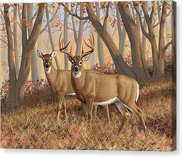 Whitetail Deer Painting - Fall Flame Canvas Print