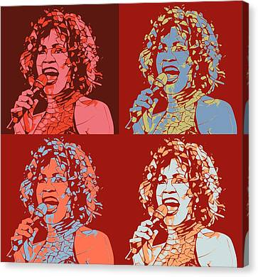 Whitney Houston Pop Art Panels Canvas Print by Dan Sproul