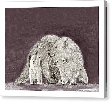 Canvas Print featuring the painting Polar Bear Family by Jack Pumphrey