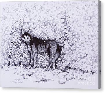 Huskies Canvas Print - Who Likes Snow Day by Anna  Duyunova