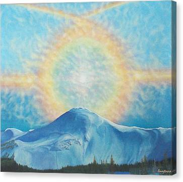 Who Makes The Clouds His Chariot Fire Rainbow Over Alberta Peak Canvas Print