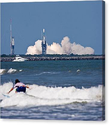 Canvas Print featuring the photograph Whoah Dude It's A Rocket by Ron Dubin