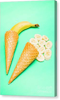 Whole Bannana And Slices Placed In Ice Cream Cone Canvas Print