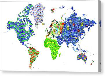 Whole World's Gone Bananas - World Map Sticker Art Canvas Print by Rayanda Arts