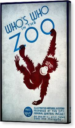 Who's Who In The Zoo Wpa Canvas Print by Edward Fielding