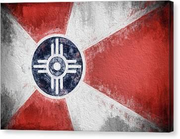 Canvas Print featuring the digital art Wichita City Flag by JC Findley