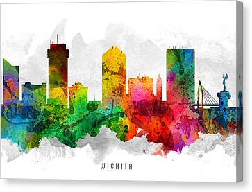 Wichita Kansas Canvas Print - Wichita Kansas Cityscape 12 by Aged Pixel