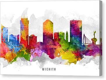 Wichita Kansas Canvas Print - Wichita Kansas Cityscape 13 by Aged Pixel