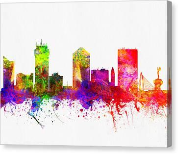 Wichita Kansas Canvas Print - Wichita Kansas Skyline Color02 by Aged Pixel