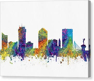 Wichita Kansas Skyline Color03 Canvas Print by Aged Pixel