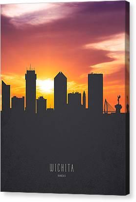 Wichita Kansas Canvas Print - Wichita Kansas Sunset Skyline 01 by Aged Pixel