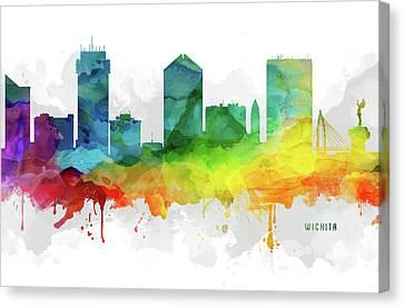 Wichita Kansas Canvas Print - Wichita Skyline Mmr-uskswi05 by Aged Pixel