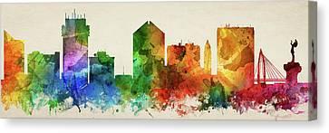 Wichita Kansas Canvas Print - Wichita Skyline Panorama Uskswi-pa03 by Aged Pixel
