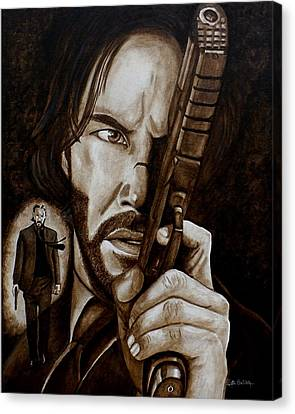 Canvas Print featuring the painting Wick Is Back by Al  Molina