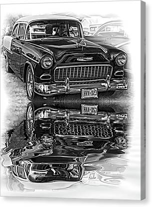 Wicked 1955 Chevy - Reflection Bw Canvas Print