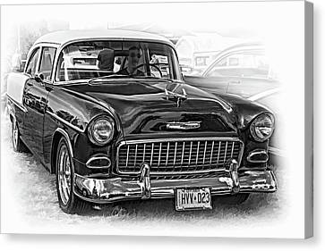 Wicked 1955 Chevy - Vignette Paint Bw Canvas Print