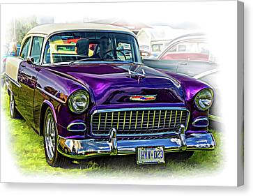 Wicked 1955 Chevy - Vignette Paint Canvas Print
