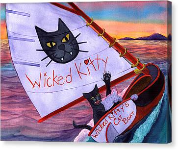 Wicked Kitty's Catboat Canvas Print by Catherine G McElroy