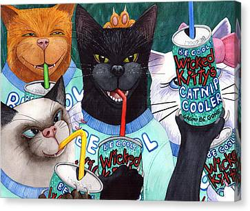 Wicked Kitty's Catnip Cooler Canvas Print by Catherine G McElroy
