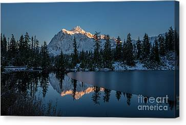 Wide Shuksans Last Light Reflected Canvas Print by Mike Reid
