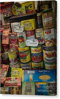 Canvas Print featuring the photograph Wide Variety Of Italian Goods On Display In Little Italy by Jason Rosette